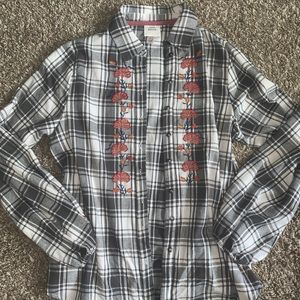 Floral embroidered flannel